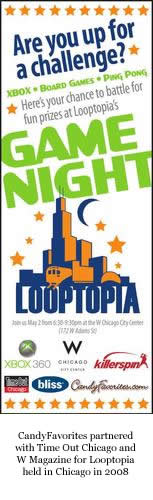 CandyFavorites partnered with Time Out Chicago and W Magazine for Looptopia held in Chicago in 2008 | Time Out Ad