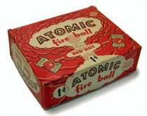 A box of Atomic fireballs from the 1950's