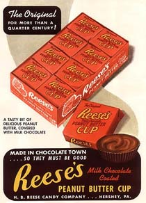 A vintage Reese's Peanut Butter Cup advertisement